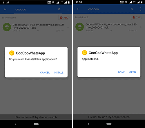 how to install coocoo whatspp apk on android